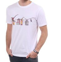 Paul Smith Oil Cans Print T Shirt - Crew Neck - White - Small Medium Large XL