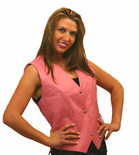 Ladies Pink Leather Vest