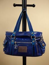 Coach Poppy Pop Starlet Starlit Blue Patent Leather Tote Shoulder Hand Bag 13832