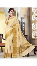 Beautiful Designer Bollywood Style Partywear Gold Tassar Silk With Blouse Saree