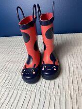 CARTERS Pink Lady Bug Rain Boots Sz 8 Gently Used