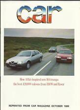 ALFA ROMEO 164 V6 + BMW & ROVER ROAD TEST SPECIAL 'SALES BROCHURE' OCTOBER 1988