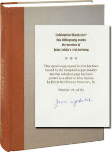 JOHN UPDIKE BIBLIOGRAPHY OF PRIMARY AND SECONDARY MATERIALS 1st ed #112221