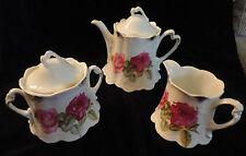 TEA SET ~  TEA POT, CREAMER & SUGAR BOWL rose motif very good condition