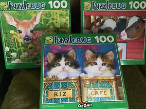 Lot Of 3 100pc Puzzles W/ Animal Babies! Fawn, Kittens And Dairy Calf's!