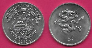 LIBERIA 5 CENTS 2000 UNC DRAGON ABOVE VALUE FACING RIGHT,NATIONAL ARMS
