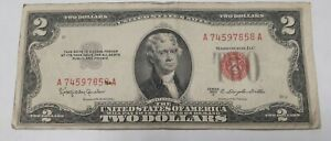 $2 1953 C  Red Seal United States Note Dollar Bill