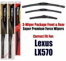 Wiper Blades Trico 3-Pack Front/Rear fits 2008+ Lexus LX570 - 25240/220/12A