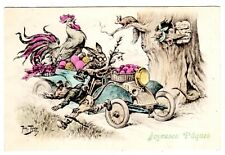 POSTCARD THIELE RABBIT IN AUTO NEARLY HITS MOUSE RAT 1910 T.S.N. SERIES 654