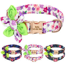 Dog Personalized Collars with Metal Gold ID Name Tags Engraved Blue Purple S M L