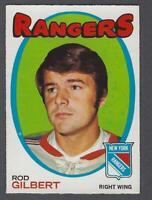 1971-72 O-Pee-Chee New York Rangers Hockey Card #123 Rod Gilbert