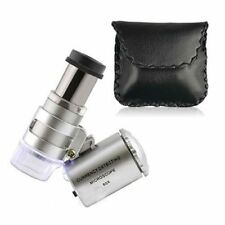 NEW 60X Mini Pocket Magnifier Microscope Jewelers Loupe with LED & UV Lights