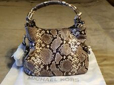 MICHAEL MICHAEL KORS ISABEL PYTHON EMBOSSED  LEATHER  CONVERTIBLE  SHOULDER BAG