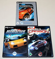 3 PC SPIELE SAMMLUNG BUNDLE NEED FOR SPEED CARBON - UNDERGROUND - HOT PURSUIT 2