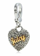 Authentic Juicy Couture Pave Puff Heart Silver Charm Bracelet Necklace Keychain