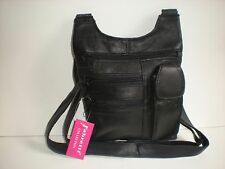 MULTI COMPARTMENT LEATHER HANDBAG WITH FRONT PHONE HOLDER AND BACK ZIP 61586