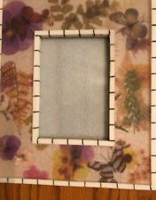 Flowers Butterflies Heavy Acrylic Resin Photo Frame-New-