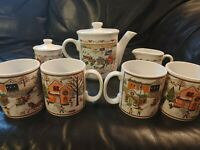 Russ Berrie Vintage Christmas Holiday Tea Set- 1 Teapot, Creamer & Sugar, 4 Mugs