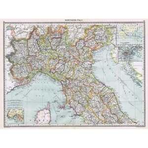 Antique Map 1906 - Northern Italy - Harmsworth Atlas