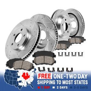 For 2015 2016 Chrysler 200 Front & Rear Drill Slot Brake Rotors + Ceramic Pads