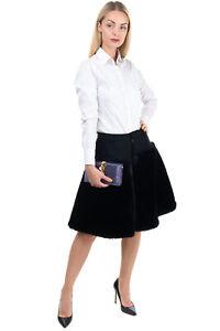 RRP €695 NOIR KEI NINOMIYA Faux Fur Culottes Shorts Size S Contrast Wool Black