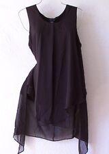 NEW~Long Silky Black Layered Tunic Blouse Shirt Tank Boho Top~8/10/M/Medium