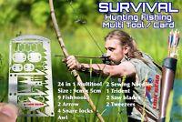 EDC 24 in 1 Hunting Fishing Wilderness Survival Card Multitool Snare Locks Hooks