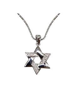 "Silver Tone Star of David Bronze Rhodium Plated CZ Pendant Chain Necklace 18"""