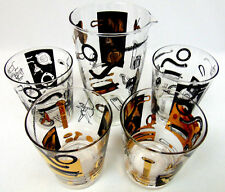 Set of 5 Bowman Auto Parts HIGH LOW Ball 4 WHISKEY GLASSES & PITCHER Nuts Bolts