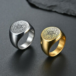 Seals of The Seven Archangels Rings Stainless Steel Solid Heavy Ring Gold Silver