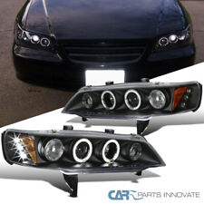Fit Honda 94-97 Accord 2/4Dr Black LED Halo Projector Headlights Head Lamps Pair