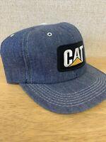 Unused Vintage Caterpiller Cat Snapback Hat Cap Blue Denim Made In USA One Size
