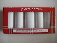 Pierre Cardin Handkerchiefs Mens Five Solid 100% Cotton White NIB