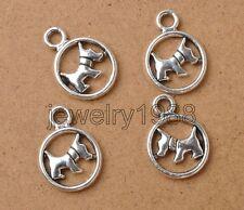 35pcs Tibetan Silver Fashion Dog Round Charm Pendant 19x14mm Accessories F3356