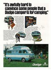 1968 DODGE Camper Van Blue & White Camping VTG PRINT AD