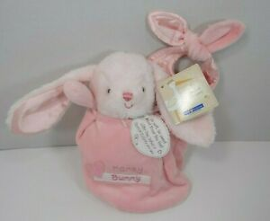 """Kids Preferred Special Delivery Pink Honey Bunny Plush In Bag Rattle NWT 7"""""""
