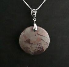 Jasper Round Pendant Necklace Beautiful Natural Red Chohua