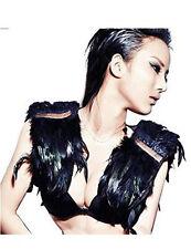 Fashion Feather Cape Stole Black Shawl Scapular Iridescent Epaulet