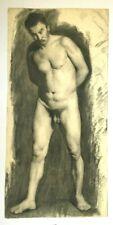 Dessin académique fin XIXe, Nu masculin, étude crayon, Concours des Beaux-Arts