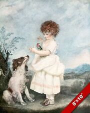 CUTE LITTLE GIRL IN A DRESS WITH DOG & BIRD ART PAINTING PRINT ON REAL CANVAS