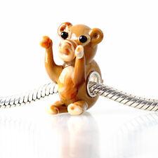 1pcs SILVER MURANO GLASS BEAD LAMPWORK Animal Fit European Charm Bracelet