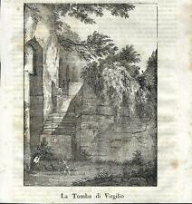 Stampa antica NAPOLI Tomba di Virgilio 1841 Old antique print