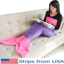 Mermaid Tail Blanket Kids Girls Soft and Warm Sofa Sleeping Bag Pink Fleece Wrap