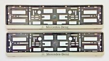 2xSILVER NUMBER PLATE SURROUNDS HOLDER FRAME PAIR FOR ANY MERCEDES-BENZ CARS VAN