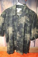 Joe Marlin Black Green Palm Large Tall Men's Shirt