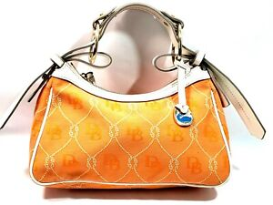Dooney Bourke Canvas Leather Shoulder Bag Handbag Purse Orange Logo