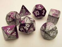 Chessex Gemini Polydice Set - Purple-Steel/white