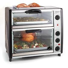 oneConcept Gq3-All-You-Can-Eat 2400W 42 Liter Double Oven with Grill - Silver