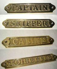 4X massives Türschild Messing- Captain, Skipper, Cabine und Toilettes