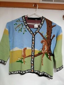 Storybook Knits Hand Knit  Jungle Cat  Sweater NEW With Tags 3X Cute collar